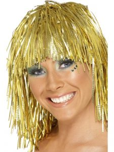 cyber tinsel wig gold