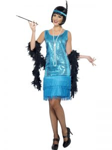 1920s Blue Charleston Flapper Costume Medium