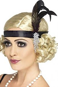 1920s Black Satin Charleston Headband