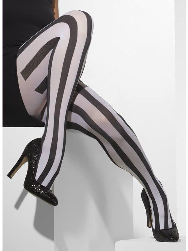 Opaque Vertical Striped Black and White Tights