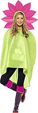 Shower Resistant Party Poncho With Drawstring Bag Flower Design