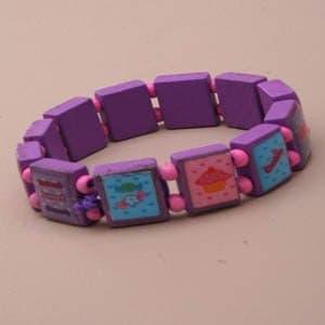 Wooden Square Candy Theme Stretch Bracelet