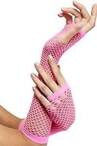 1980's Fishnet Gloves - Long Pink