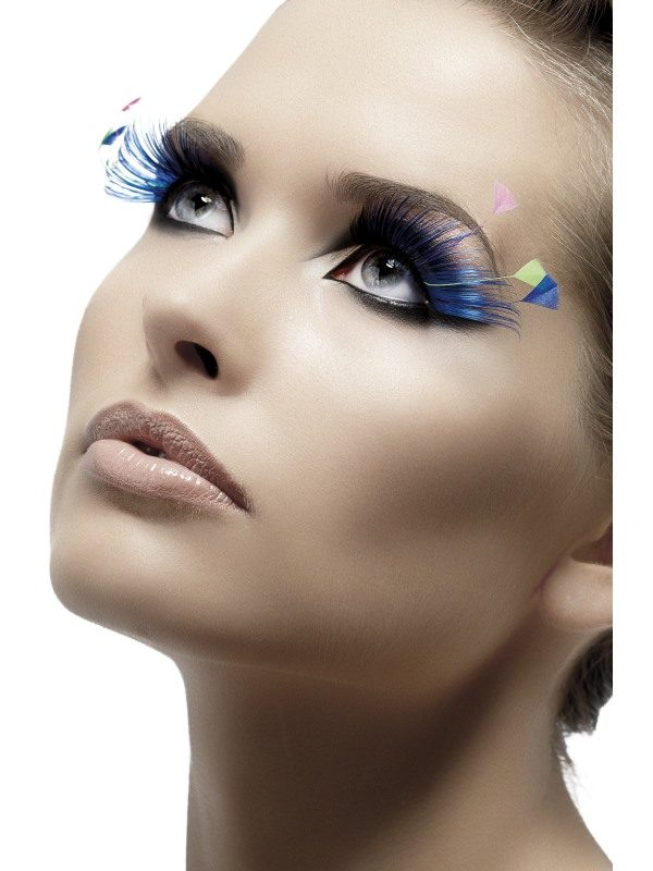 Eyelashes, Blue, with Feather Plumes