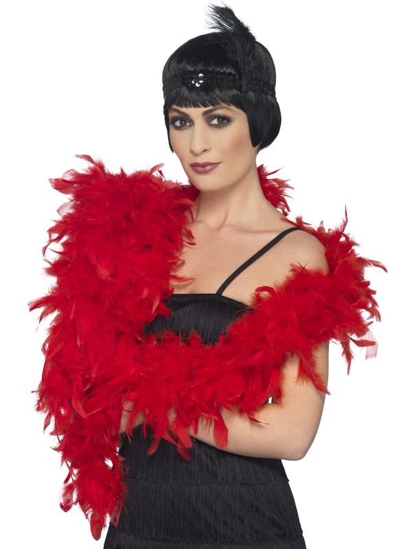 1920s Red Feather Deluxe Boa