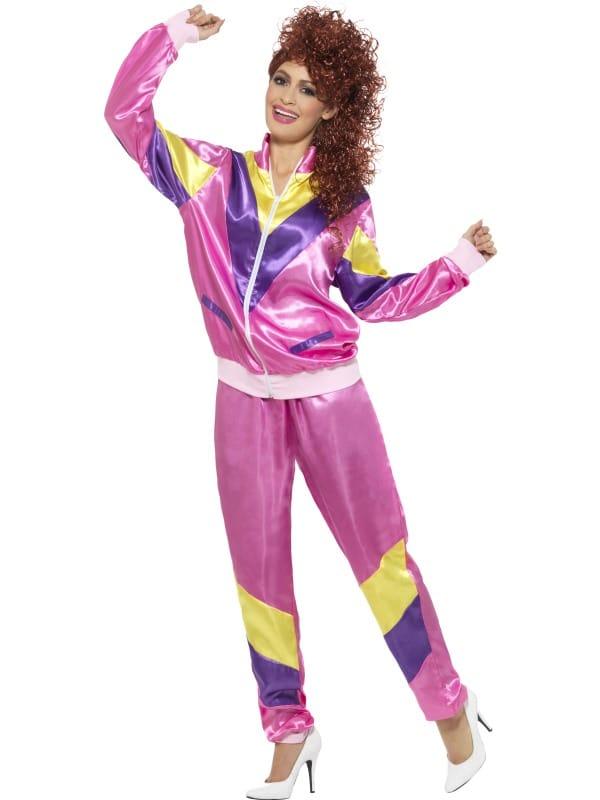 Ladies 1980s Shell Suit Costume Pink Medium