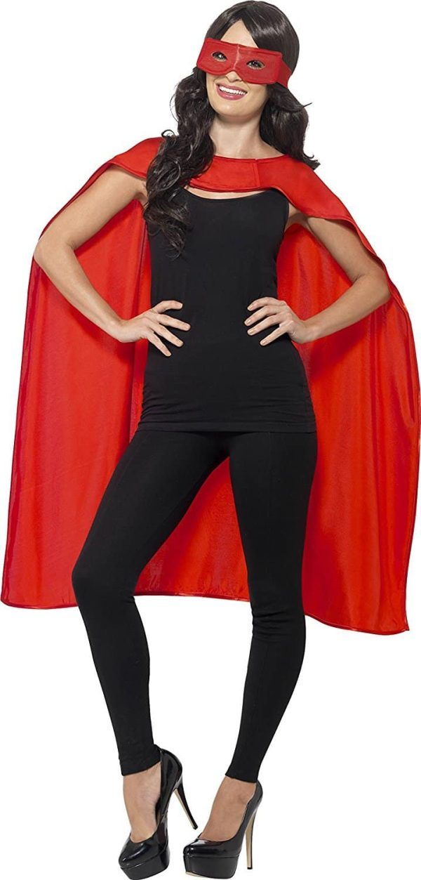Cape and Eye Mask Set Unisex In Red