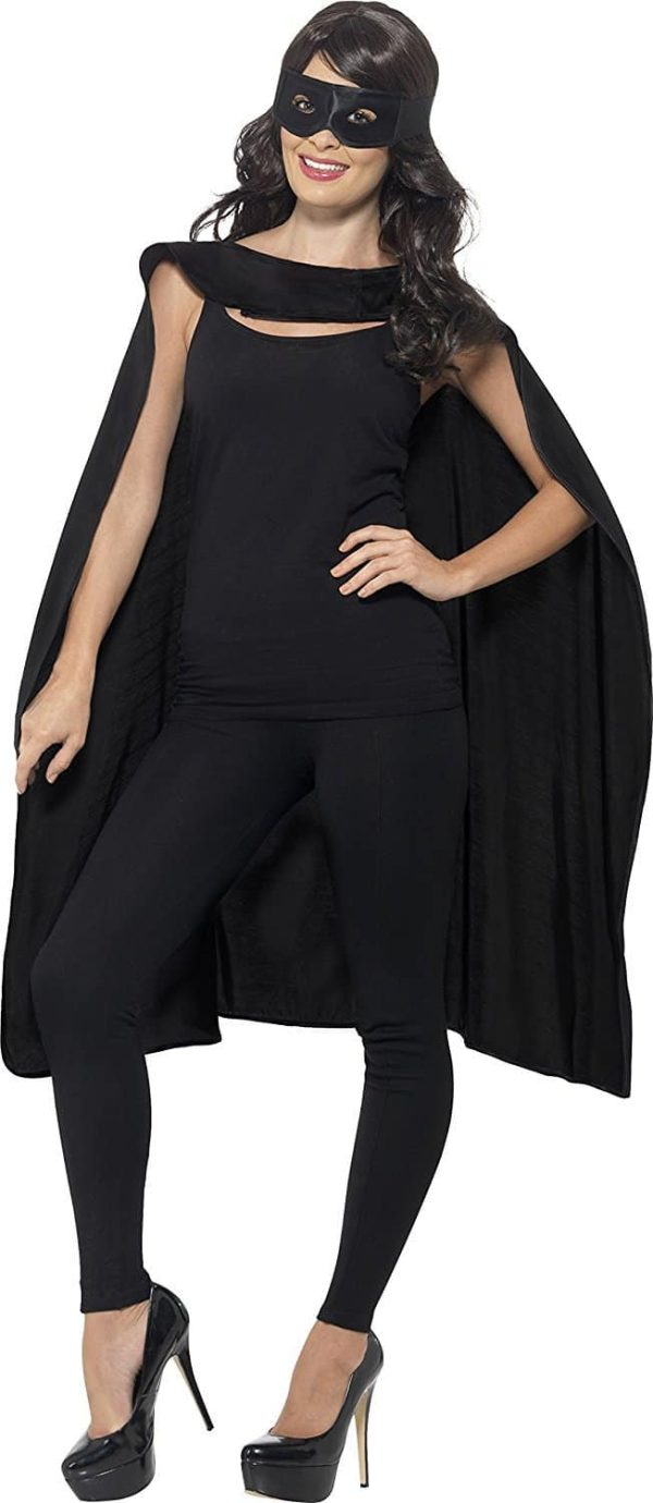 Cape Black With Eye Mask One Size
