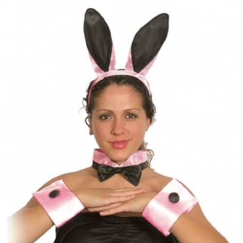 Rabbit Fancy Dress Bunny Set Black And Pink