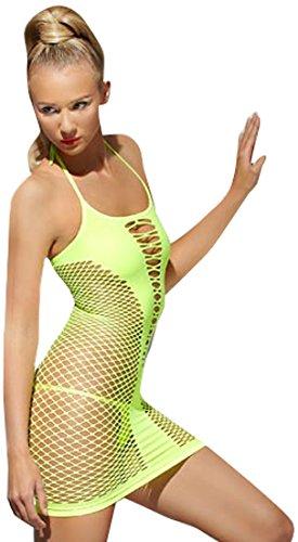 Mini Dress Lattice Style Neon Green
