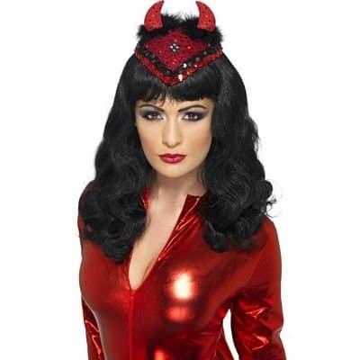 Halloween Demonic Demon Skull Cap, Red, with Horns