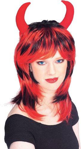 Devil Wig Black/Red With Horns