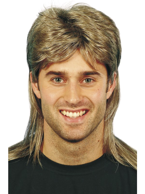 Brown Mullet Wig, with Blonde Highlights