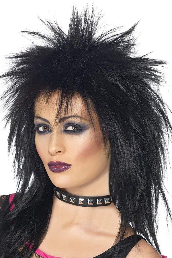 1980's 1980s Black Punk Rock Diva Wig