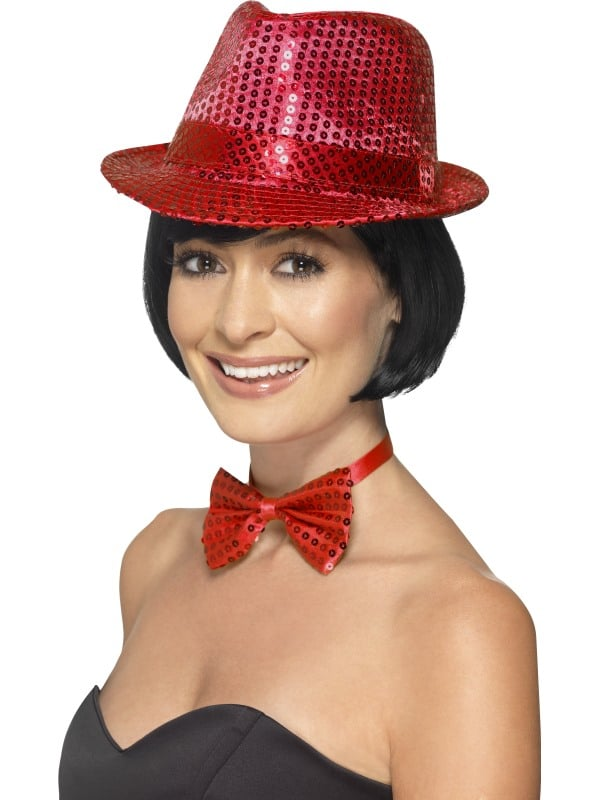 Ladies Sequin Gangster Style Trilby Hat In Red One Size