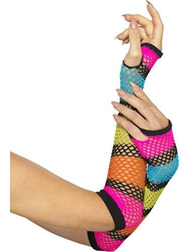 1980s Fishnet Rainbow Gloves