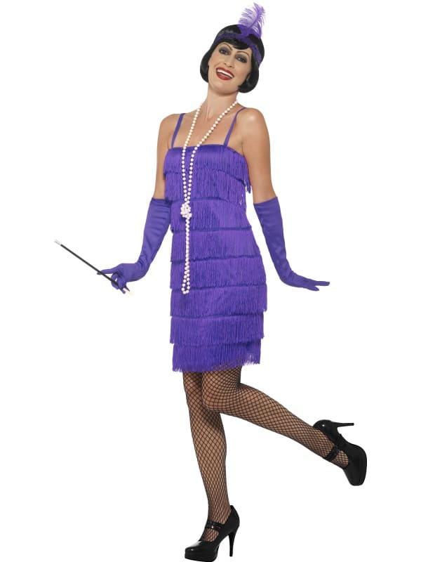 Charleston 1920s Flapper Costume Purple Small with Short Dress,Headband & Gloves