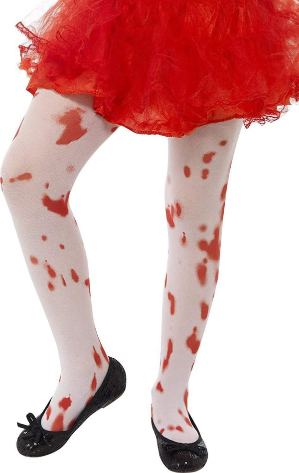 White Blood Stain Print Tights