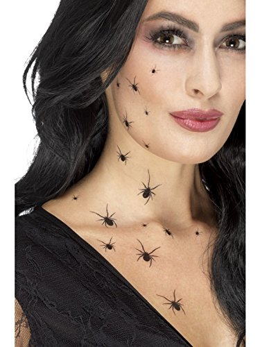 Halloween Crawling Spider Tattoo Transfers Black, with 2 Sheets Per Pack, 16 Spiders on Each