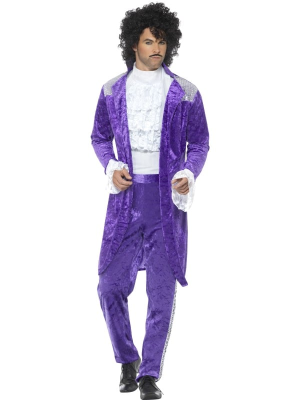 1980s Prince Style Purple Rain Costume Large Purple, with Jacket, Mock Shirt & Trousers
