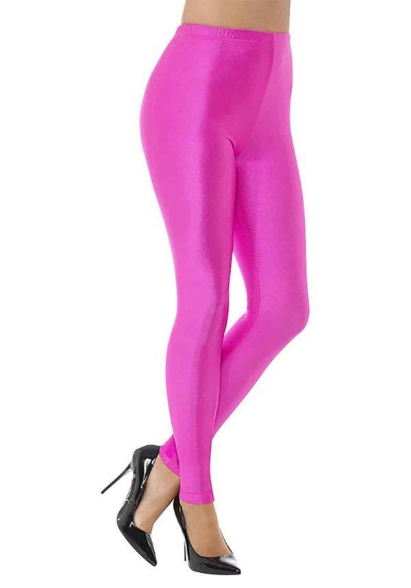 1980s Disco Spandex Leggings Neon Pink ~ Large