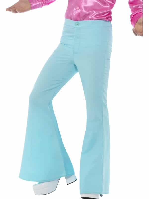 Mens Blue Flared Trousers