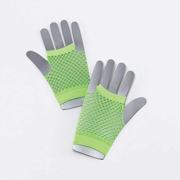 1980's Neon Green Fishnet Short Green Gloves