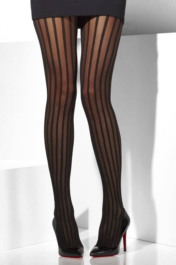 Black Tights with vertical sheer stripes