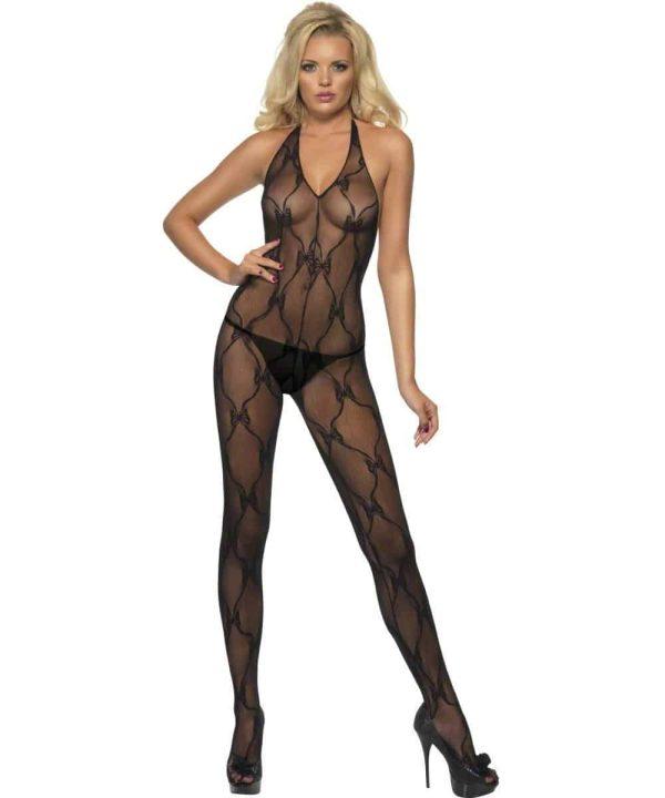 Ladies Black Ribbon Print Lingerie Body Stocking