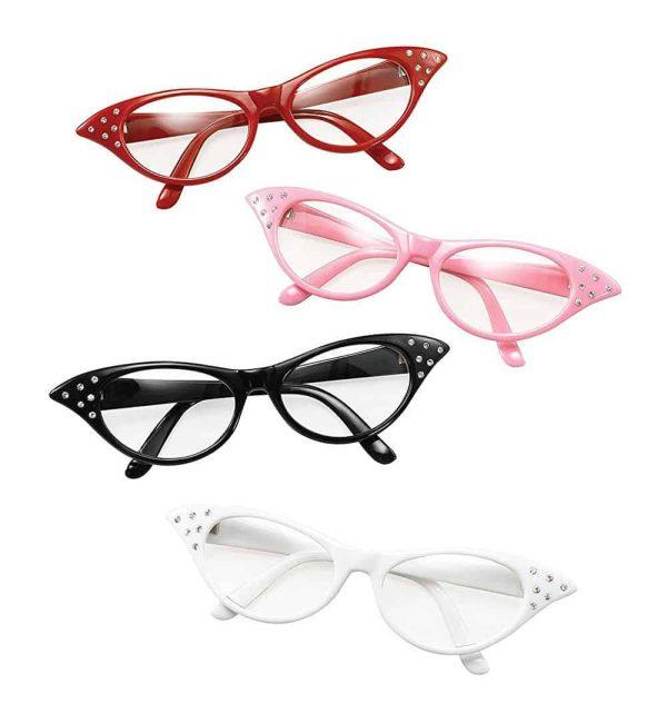 1950s Womens Rock N Roll Style Glasses Black