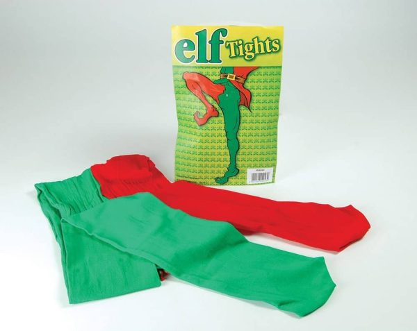 Red And Green Santa's Helper Elf Joker Jester Tights