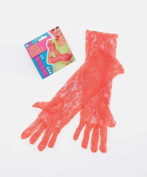 1980's Neon Lace Gloves. Orange ***