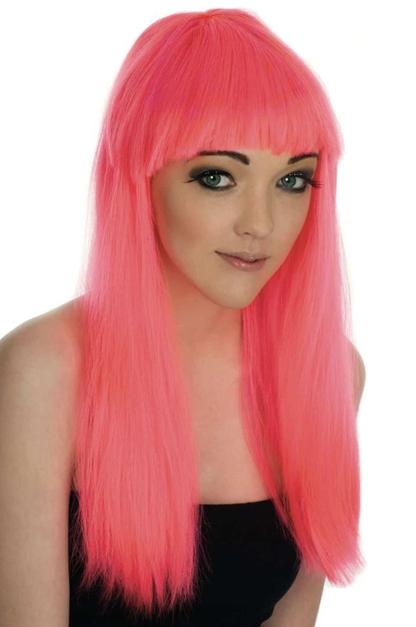 1980's Neon Pink Long Haired Fringe Wig