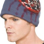 Zombie Beanie Hat with Exposed Brain and Latex Maggots (Colours May Vary)