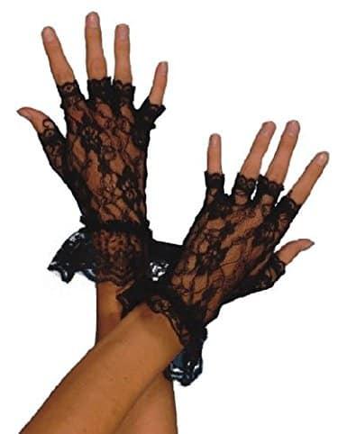 1980's Fingerless Lace Black Gloves