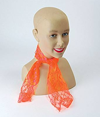1980'S Neon Orange Lace Scarf