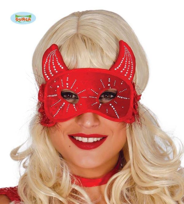 Red Devil Eye Mask With Horns