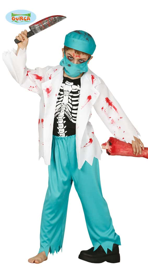 Halloween Zombie Doctor Vet Surgeon Childrens Costume ~ 10-12