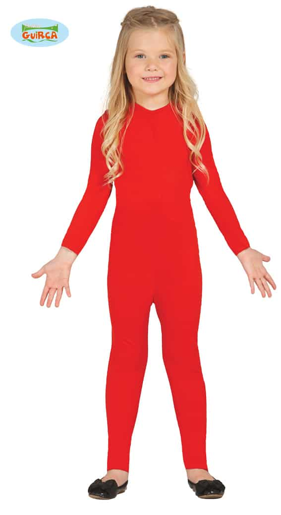 Childrens All In One Stretch BodySuit In Red 5-6