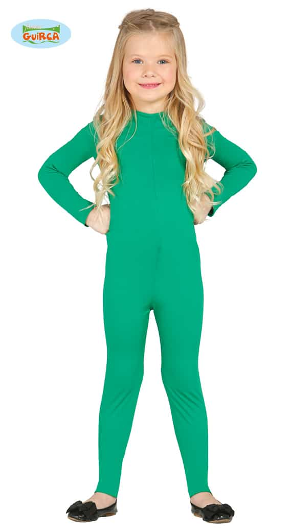 Childrens All In One Stretch Body Suit In Green ~ 7-9