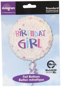 Birthday Girl Foil Balloon Swirls