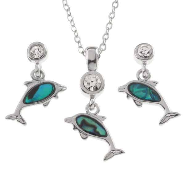 Dolphin pendant and earrings