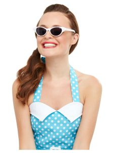 1950s Flyaway Style White Sunglasses White with Diamante