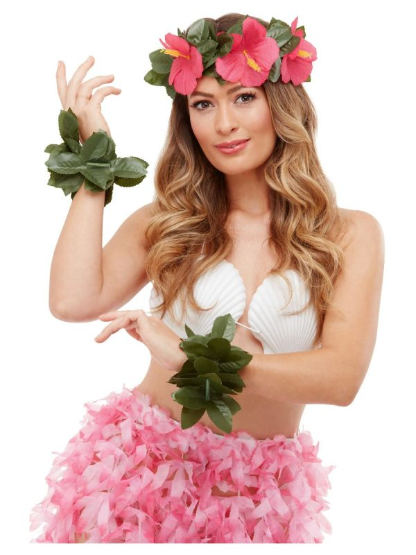 Hawaiian Luau Green and Pink Tiki Kit, headband and two wristbands