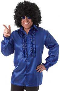 1970s Blue Satin Shirt With Ruffles