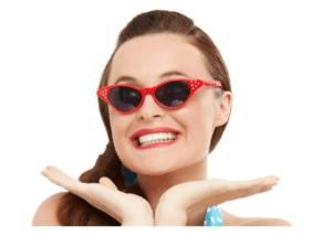 1950s Flyaway Style Sun Glasses Red