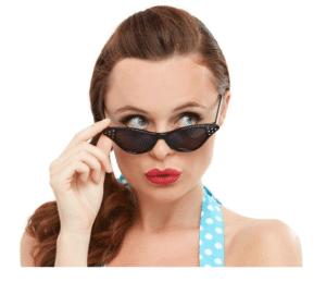 1950s Flyaway Style Sun Glasses Black