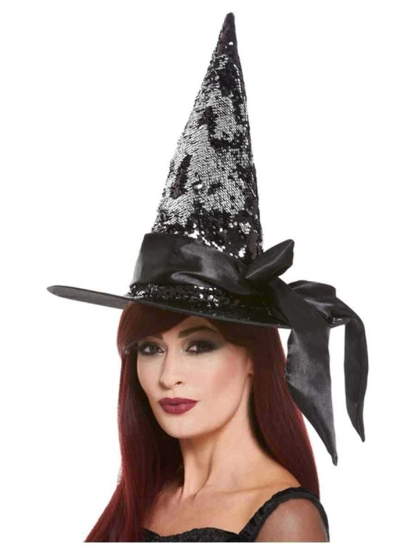 Deluxe Reversible Witch Hat Black and Silver