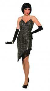 1920s Black Sequin Flapper Dress