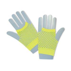 1980s Neon Short Yellow Fishnet Gloves